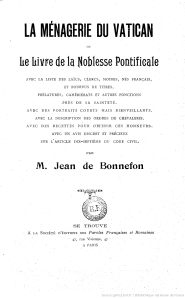 La Ménagerie du Vatican ou le livre de la Noblesse pontificale